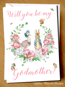 Will you be my godmother card peter rabbit jemima puddleduck will you be my godmother card peter rabbit jemima puddleduck m4hsunfo