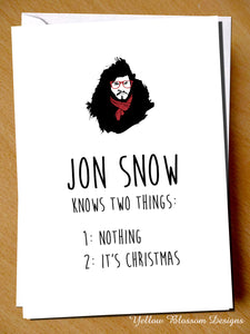 Jon Snow Knows Two Things: 1. Nothing. 2. It's Christmas. Game Of Thrones