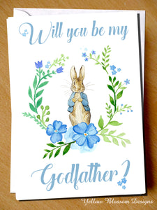 Will You Be My Godfather? Card ~ Peter Rabbit ~ Blue