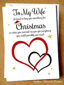 Funny Christmas Card Wife Joke From The Husband Love Couple Partner Comical Fun