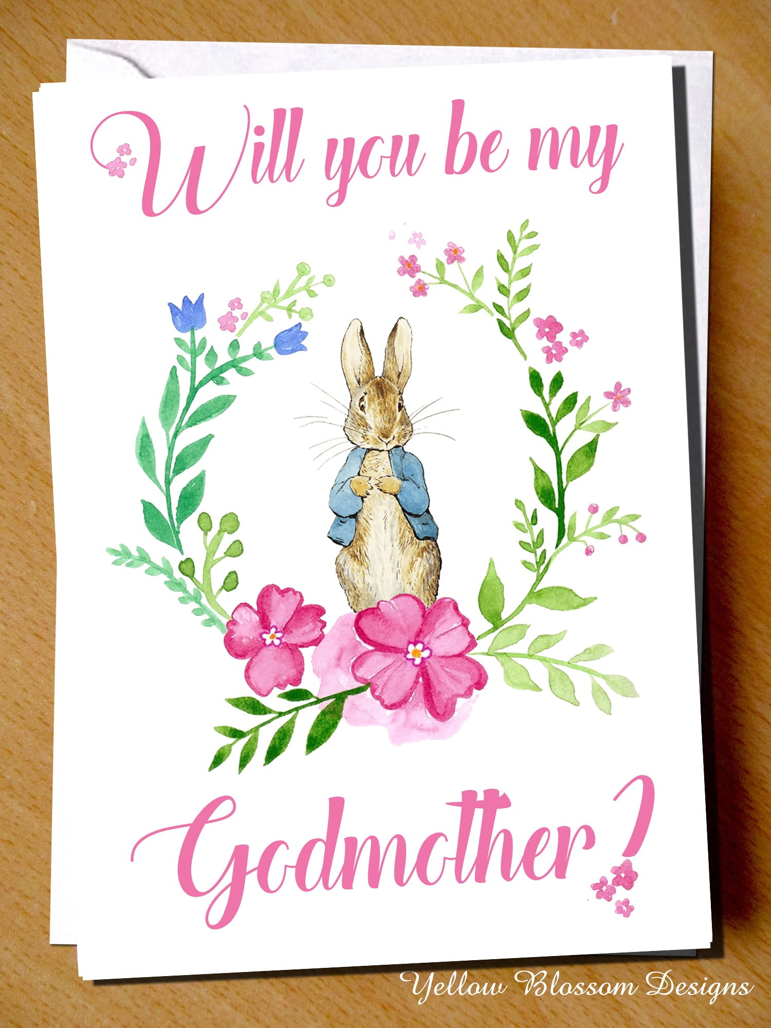 Will you be my godmother card peter rabbit pink m4hsunfo