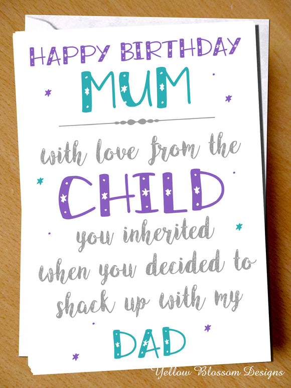 Birthday Card Funny Rude Banter Step Mum Shacked Up Dad Cheeky Hilarious Comedy - YellowBlossomDesignsLtd