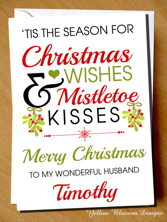 PERSONALISED Christmas Mistletoe Kissses Card Husband Wife Boyfriend