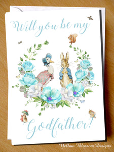 Will You Be My Godfather? Card ~ Peter Rabbit & Jemima Puddleduck