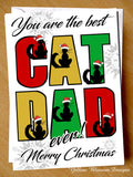 Best Cat Dad Merry Christmas ~ Animal Pet Cute ~ Greeting Card