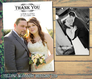 Elegant Full Photo Thanks Notes Personalised Wedding Thank You Cards ~ QUANTITY DISCOUNT AVAILABLE