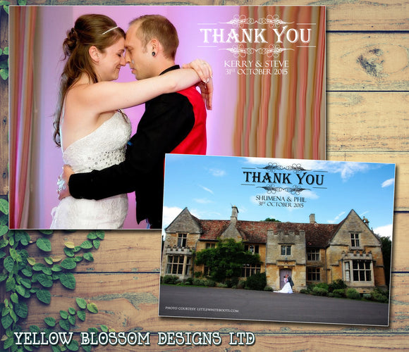 Elegant Classy Full Photo Notes Personalised Wedding Thank You Cards ~ QUANTITY DISCOUNT AVAILABLE