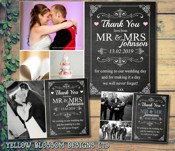 Chalkboard Elegant Classic Modern Photo Personalised Wedding Thank