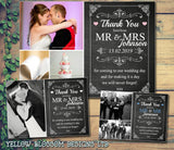 Chalkboard Elegant Classic Modern Photo Personalised Wedding Thank You Cards ~ QUANTITY DISCOUNT AVAILABLE - YellowBlossomDesignsLtd