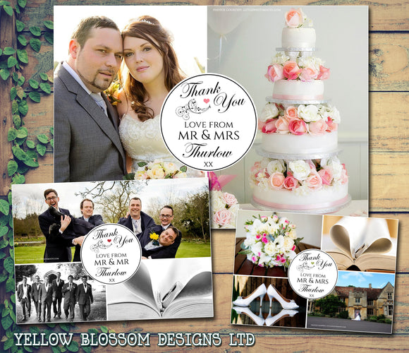 Montage Multiple Photos Personalised Wedding Thank You Cards ~ QUANTITY DISCOUNT AVAILABLE