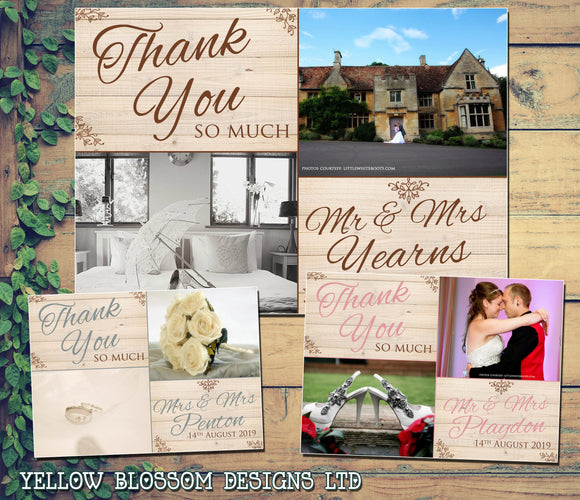 Nautral Wood Barn Vintage Shabby Rustic Photo Personalised Wedding Thank You Cards ~ QUANTITY DISCOUNT AVAILABLE
