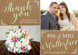 Rustic Shabby Chic Photo Personalised Wedding Thank You Cards ~ QUANTITY DISCOUNT AVAILABLE