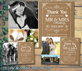 Rustic Barn Shabby Chic Photo Hearts Photo Personalised Wedding Thank You Cards ~ QUANTITY DISCOUNT AVAILABLE