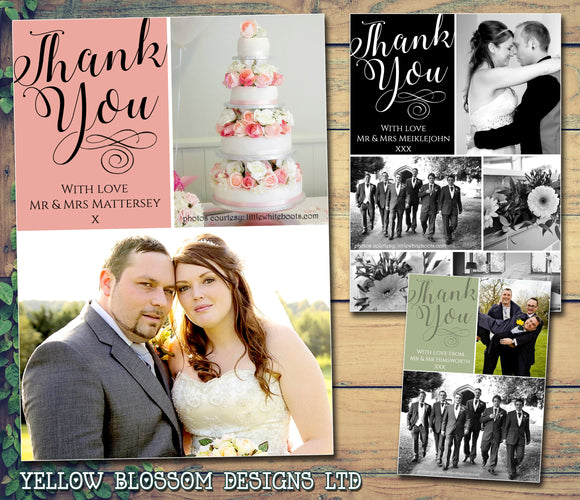 Cute Elegant Photo Personalised Wedding Thank You Cards ~ QUANTITY DISCOUNT AVAILABLE