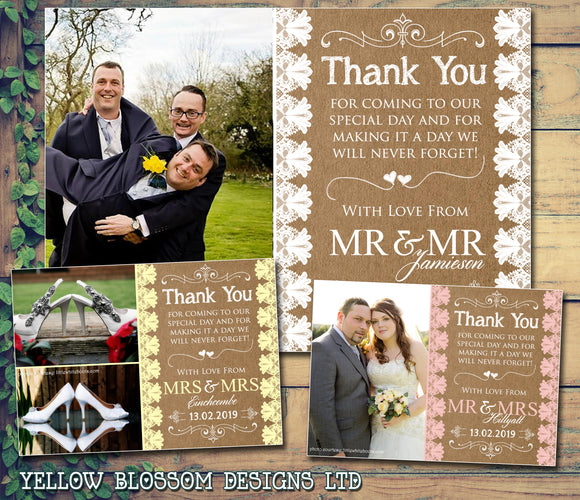 Rustic Background Printed Lace Photo Personalised Wedding Thank You Cards ~ QUANTITY DISCOUNT AVAILABLE