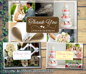 Montage Of Photos Personalised Wedding Thank You Cards ~ QUANTITY DISCOUNT AVAILABLE