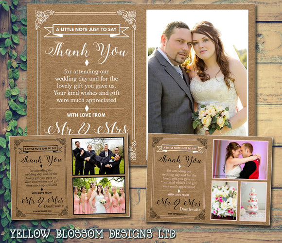 Brown Kraft Background Shabby Chic Vintage Rustic Photo Notes Personalised Wedding Thank You Cards ~ QUANTITY DISCOUNT AVAILABLE - YellowBlossomDesignsLtd