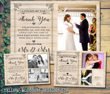 Modern Natural Wood Barn Classic Photo Personalised Wedding Thank You Cards ~ QUANTITY DISCOUNT AVAILABLE