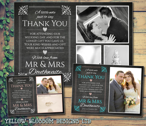 Chalkboard Elegant Pink Blue Photo Personalised Wedding Thank You Cards ~ QUANTITY DISCOUNT AVAILABLE - YellowBlossomDesignsLtd
