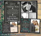 Chalkboard Elegant Pink Blue Photo Personalised Wedding Thank You Cards ~ QUANTITY DISCOUNT AVAILABLE