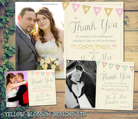 Classic Thanks Bunting Vintage Photo Personalised Wedding Thank You Cards ~ QUANTITY DISCOUNT AVAILABLE - YellowBlossomDesignsLtd