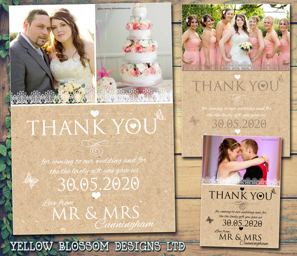 Rustic Chic Personalised Wedding Thank You Cards ~ QUANTITY DISCOUNT AVAILABLE