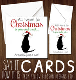 All I Want For Christmas Is You And A Cat... Actually, Just A Cat ~ Xmas Greetings Card Funny