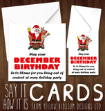 Funny December Birthday Card ~ Enjoy The Holiday Parties