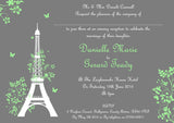 Eiffel Tower Paris Wedding Invitations Personalised ~ QUANTITY DISCOUNT AVAILABLE