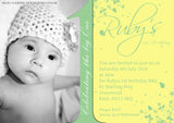 Baby 1st First ONE Photo Invitations - Birthday Twin Invites Boy Girl Joint