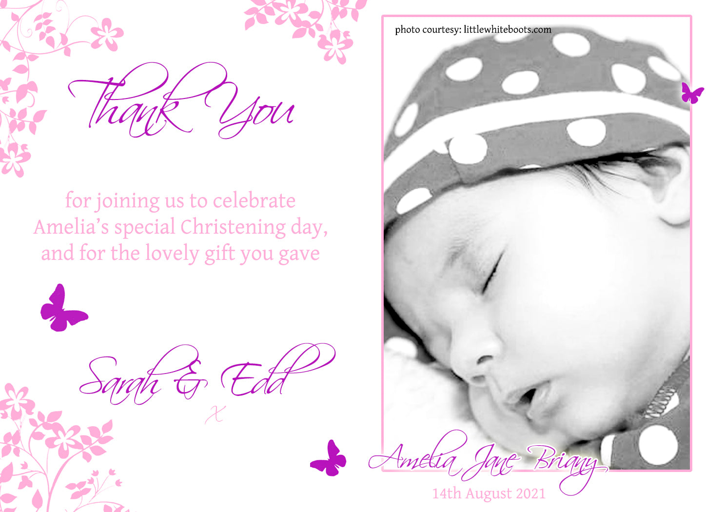 10 Personalised Thank You Cards Birthday Christening Stars Photos Pink Blue Cute