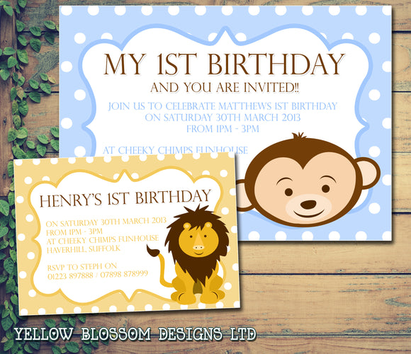 Monkey Lion Invitations Boy Girl - Children's Kids Child Birthday Invites Joint Party Twins Unisex Printed ~ QUANTITY DISCOUNT AVAILABLE