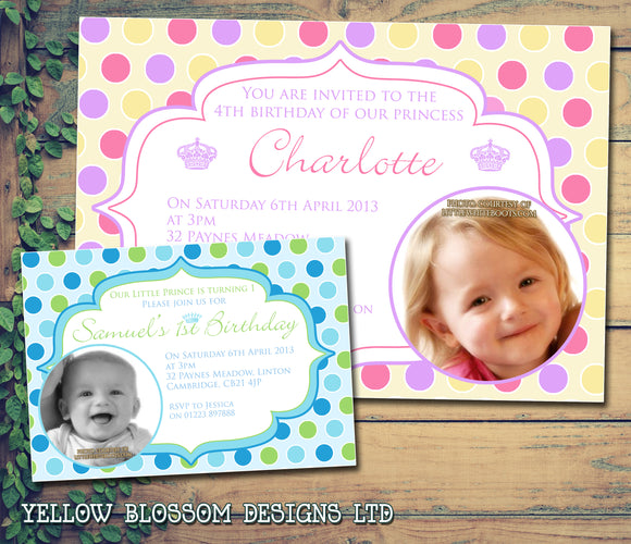 Our Little Pincess Prince - Children's Kids Child Birthday Invitations Boy Girl Joint Party Twins Unisex Printed ~ QUANTITY DISCOUNT AVAILABLE
