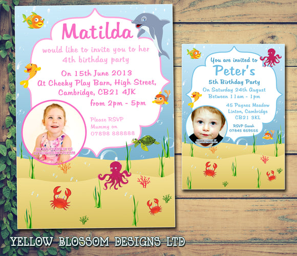 Under The Sea Photo Invitations - Birthday Invites Boy Girl Joint Party Twins Unisex Printed Children's Kids Child ~ QUANTITY DISCOUNT AVAILABLE