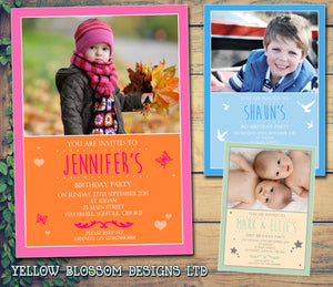 Birds Butterflies Stars Photo Party Invitations - Boy Girl Unisex Joint Birthday Twin Invites Boy Girl Joint Party Twins Unisex Printed ~ QUANTITY DISCOUNT AVAILABLE