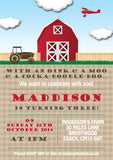Farm Yard Tractor Cow Horse Joint Boy Girl Party Invitations