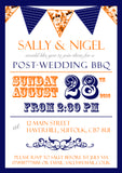 Adult Birthday Invitations Female Male Unisex Joint Party Her Him For Her - Funky Carnival Bunting Navy Orange ~ QUANTITY DISCOUNT AVAILABLE - YellowBlossomDesignsLtd