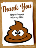 Funny Thank You For Looking After My / Our Little Shit ~ Childminder Card