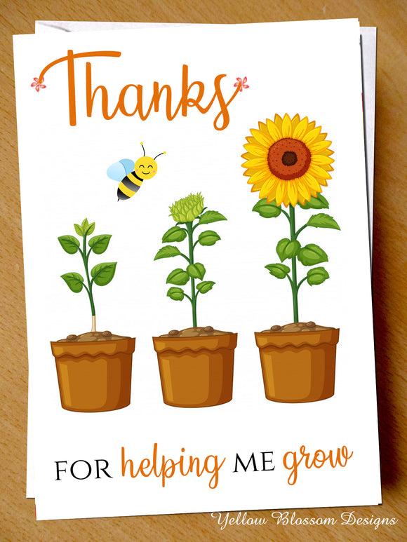 Teacher Thank You Card Mr Mrs Miss Teaching Assistant Nursery Childminder Grow