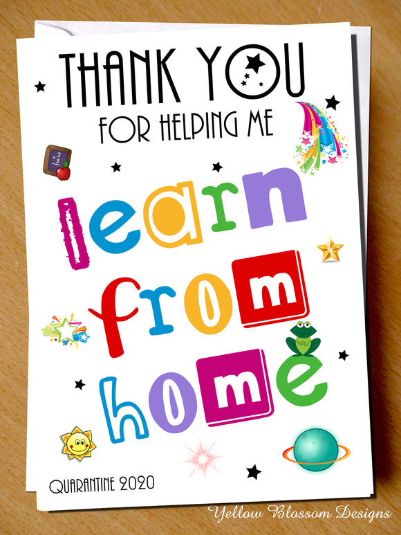 Teacher Thank You Card Teach From Home Assistant Nursery Childminder Learn 2020