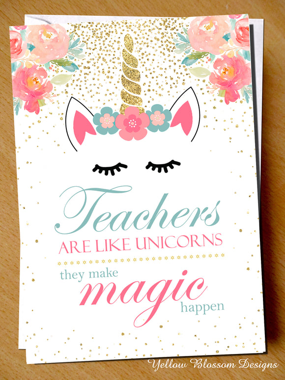 Teachers Like Unicorns Greetings Card
