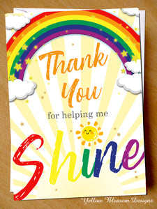 Thank You For Helping Me Shine Card