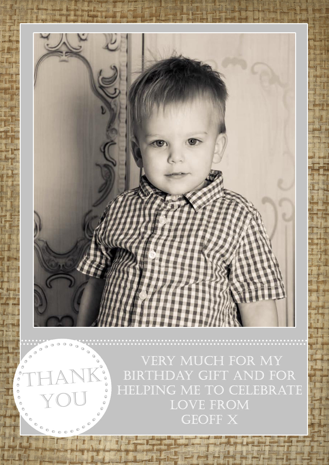Hessian Vintage Boy Girl Twins Photo Personalised Thank You Cards