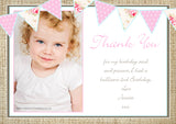 Shabby Chic Rustic Bunting Photo Vintage Personalised Birthday Thank You Cards Printed Kids Child Boys Girls Adult ~ QUANTITY DISCOUNT AVAILABLE