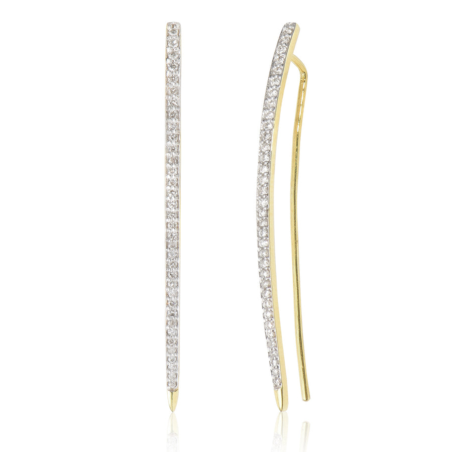 Diamond Curved Drop Earring Single Yellow Gold