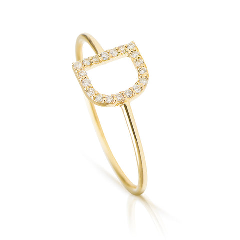 ABC Initial Diamond Ring Yellow Gold