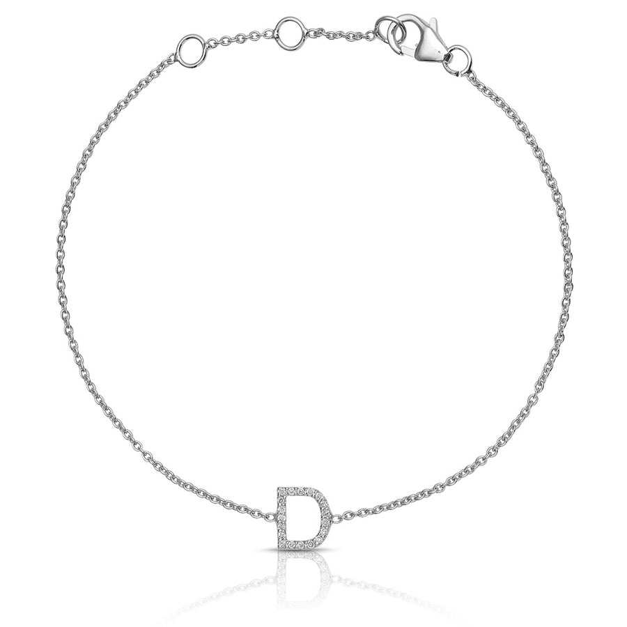 ABC Initial Diamond Bracelet White Gold