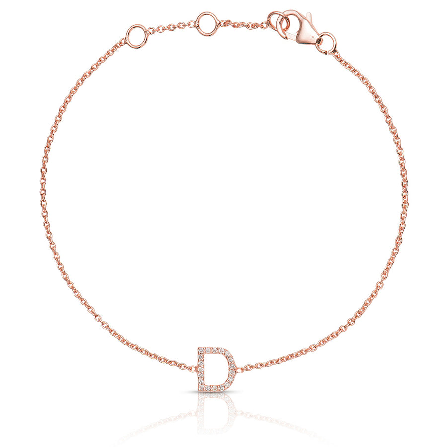 ABC Initial Diamond Bracelet Rose Gold