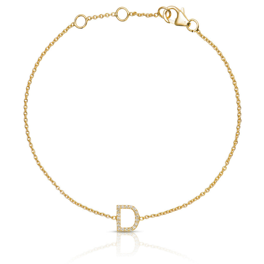 ABC Initial Diamond Bracelet Yellow Gold
