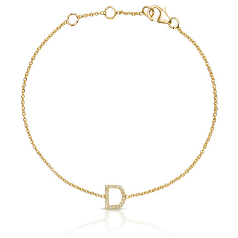 Lajoux Personalized Initial Diamond Bracelet Yellow Gold